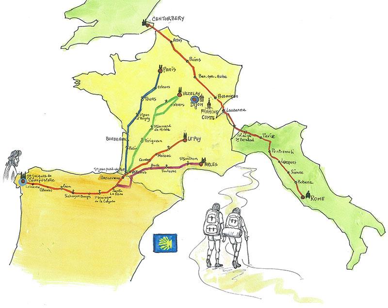 Carte chemins de compostelle